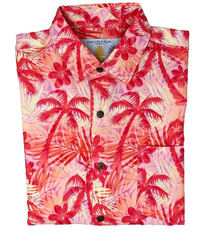 Super Stretch - Fire Palms Hawaiian Shirt