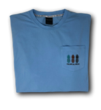 Bahama Blue Pocket Tee - USA Flag