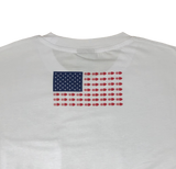 White Pocket Tee - USA Flag