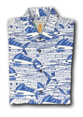 Super Stretch - Ocean Sailfish Hawaiian Shirt