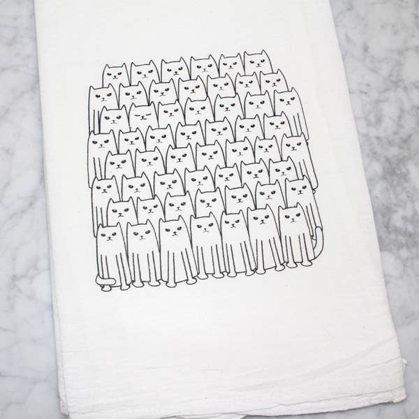 Cats on Cats Flour Sack Tea Towel