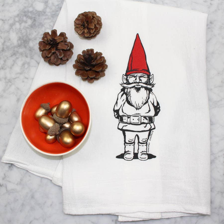 Garden Gnome Flour Sack Tea Towel