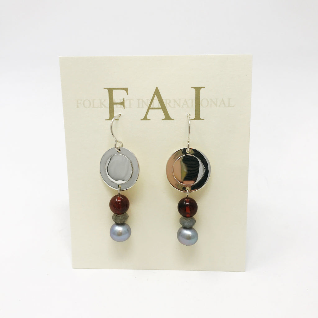 Circle With Labradorite, Amber & Pearl Earrings