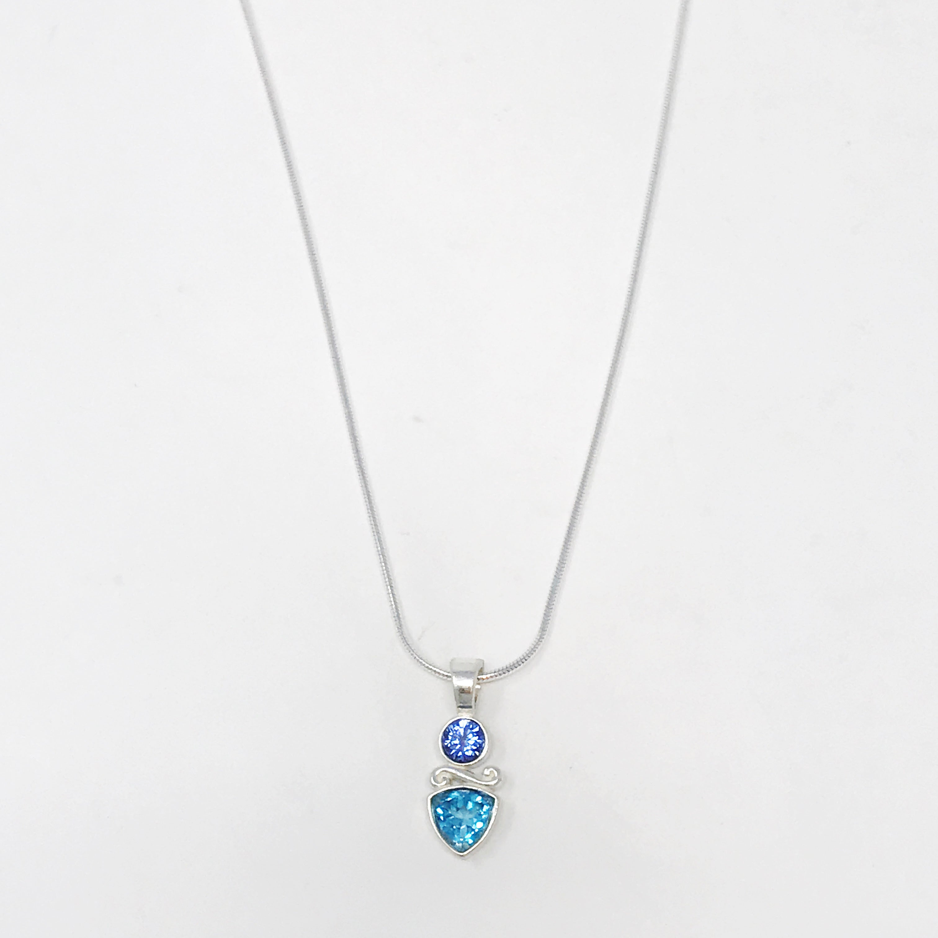 Blue Topaz and Tanzanite Necklace