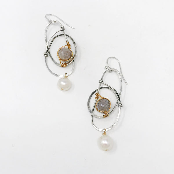 Moonstone & Pearl Swirl Earrings