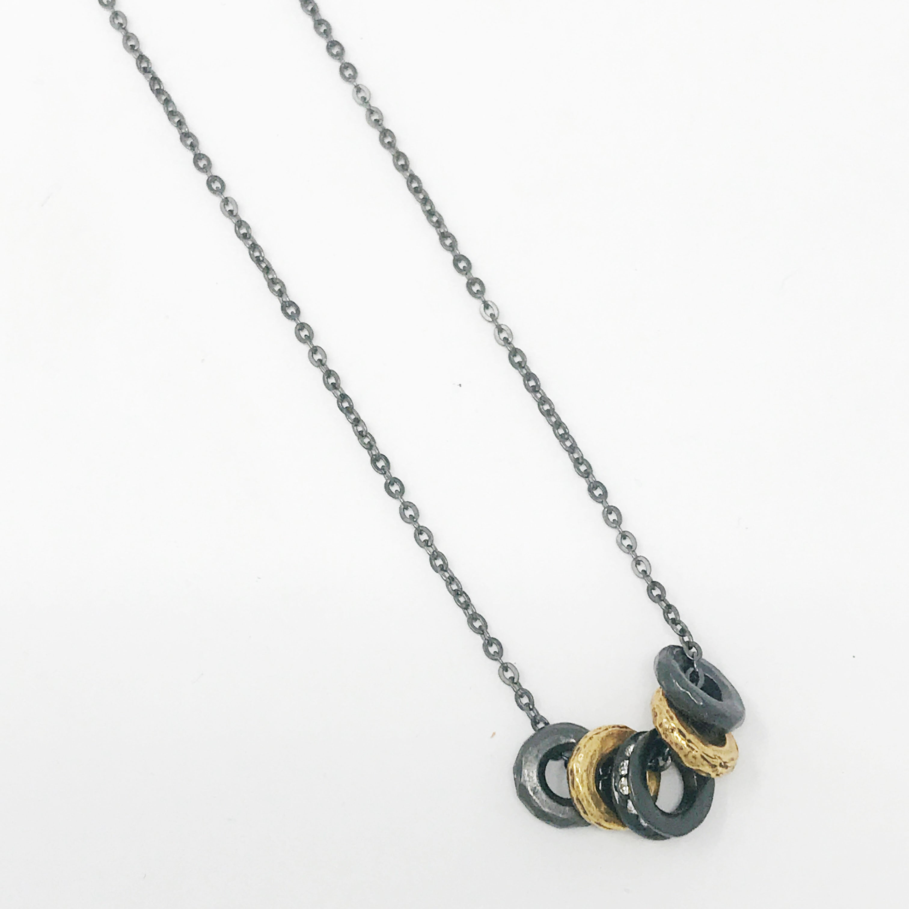 High Five Necklace Oxidized