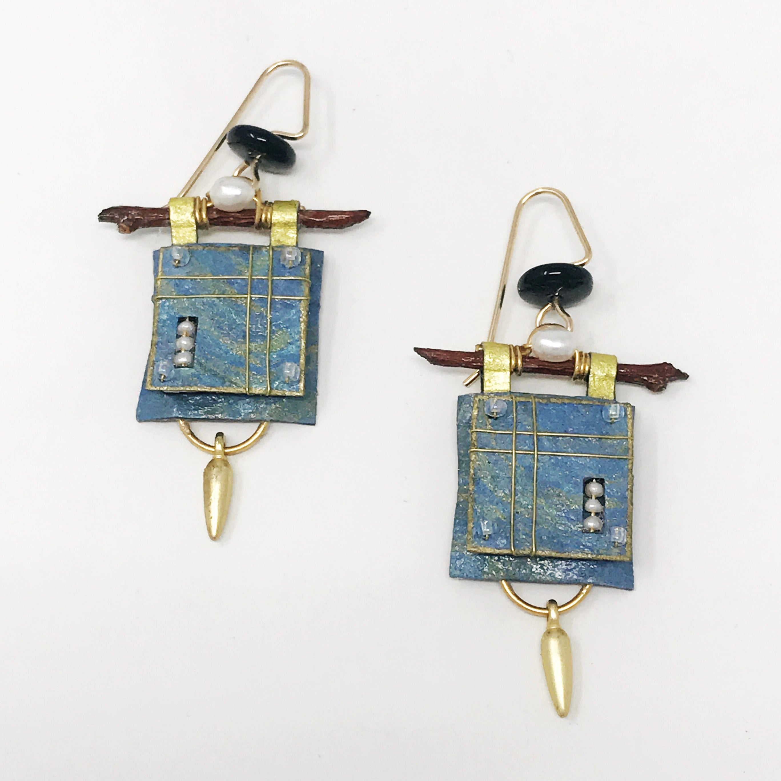 Blue Square and Pearl Earrings