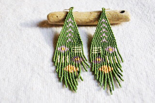 Green Pattern Beaded Earrings