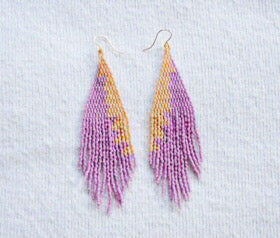 Lavendar and Yellow Beaded Earrings