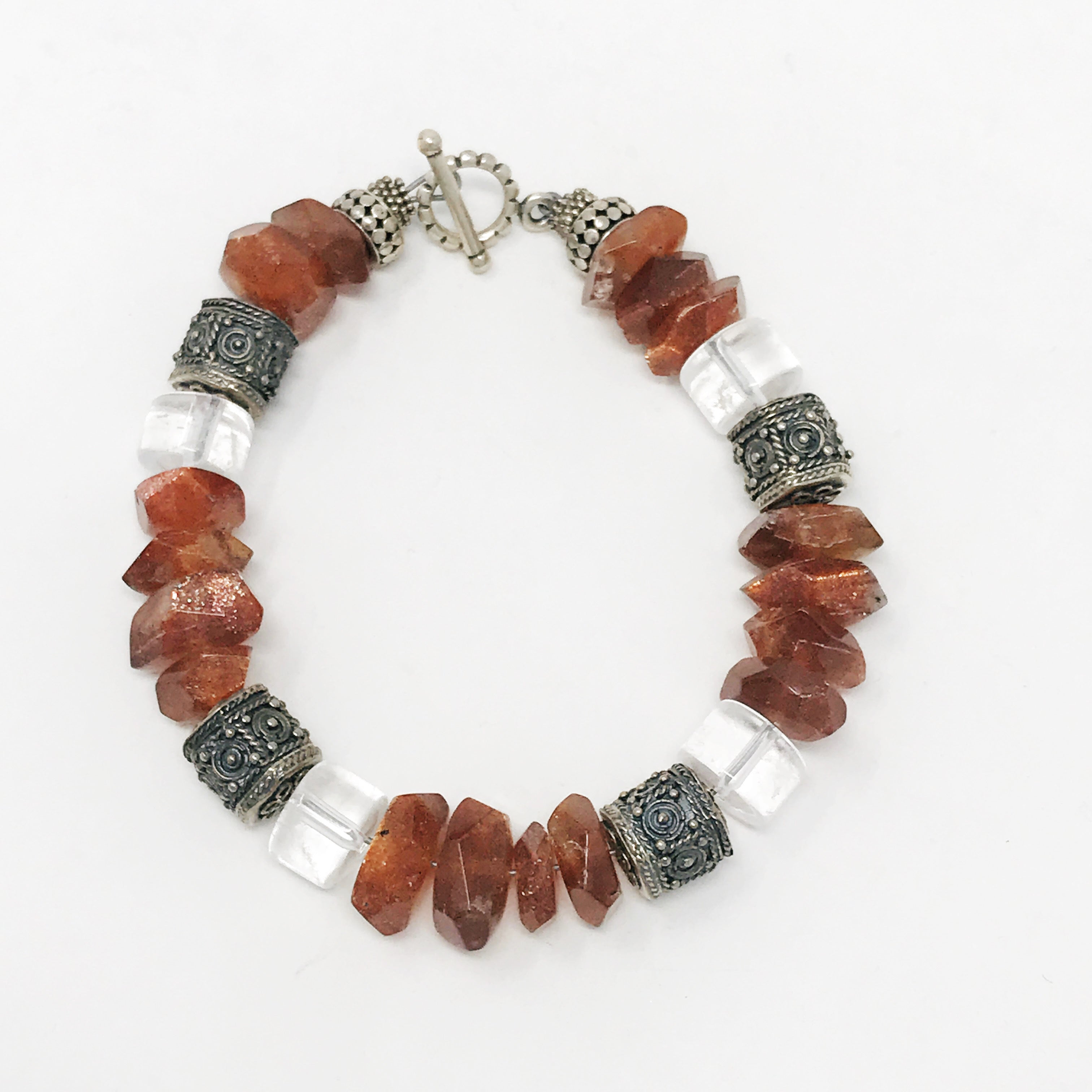 Sunsonte Quartz and sterling silver bracelet