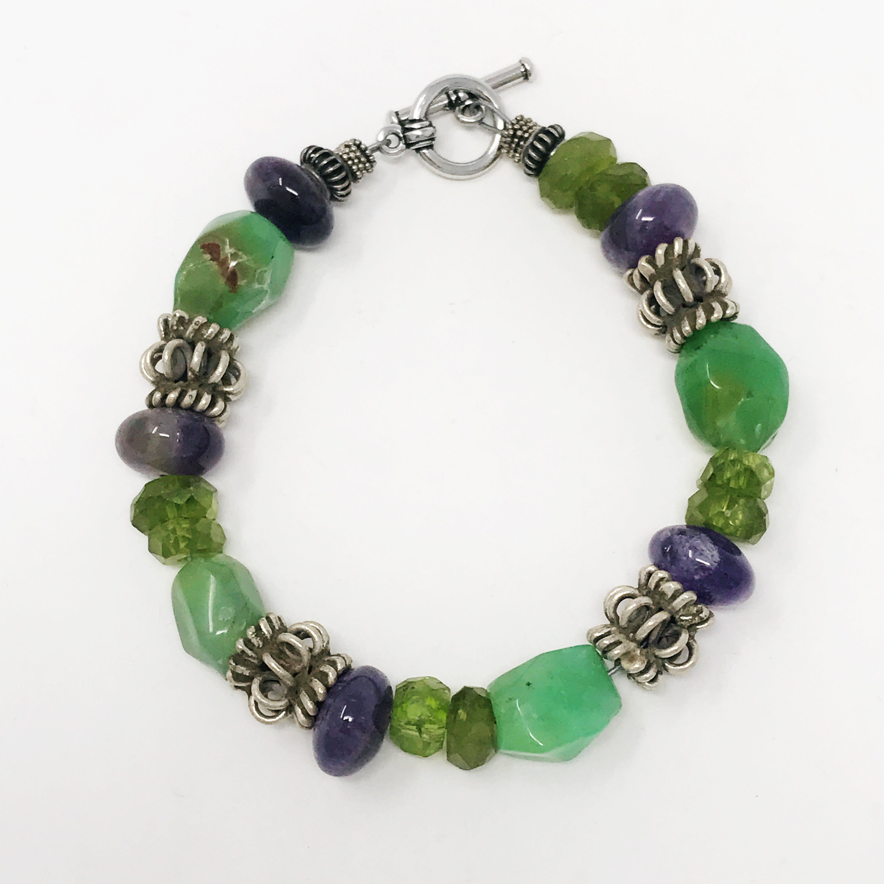 Ameythst, chrysophase and peridot bracelet