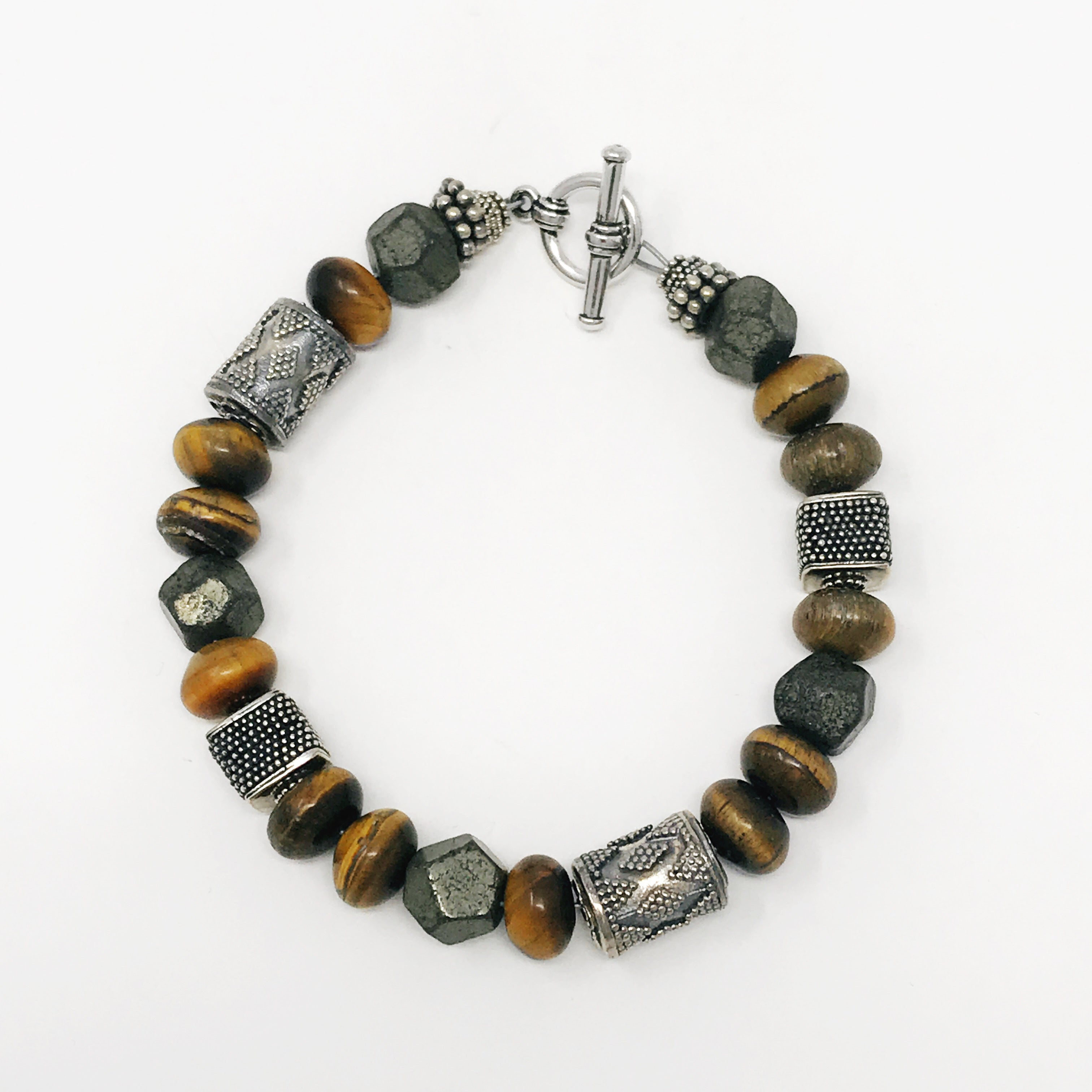 Pyrite and tiger eye and sterling silver bracelet