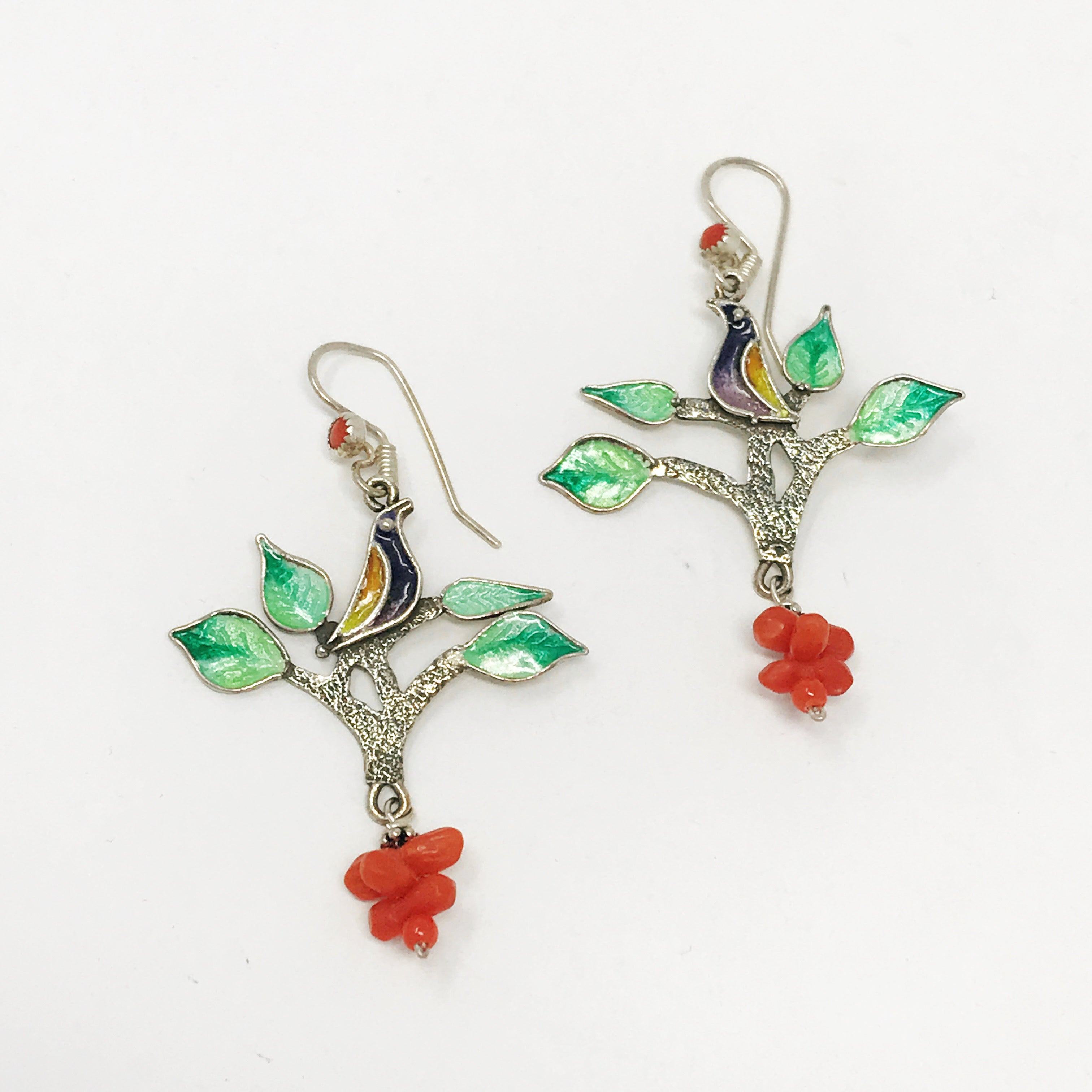 Enamel & Coral Bird Earrings
