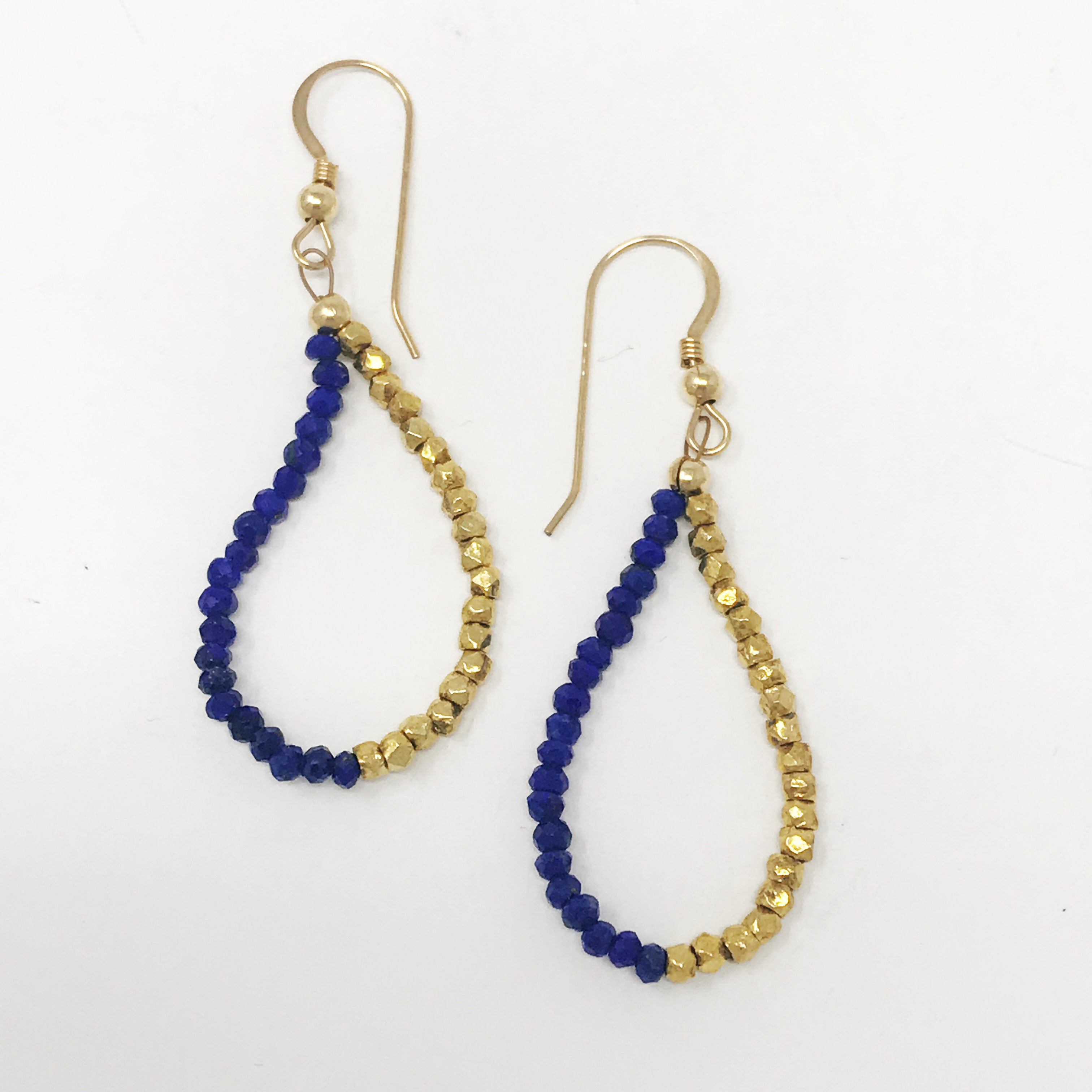 "Lapis Beaded Earrings 1.5"" Drop"