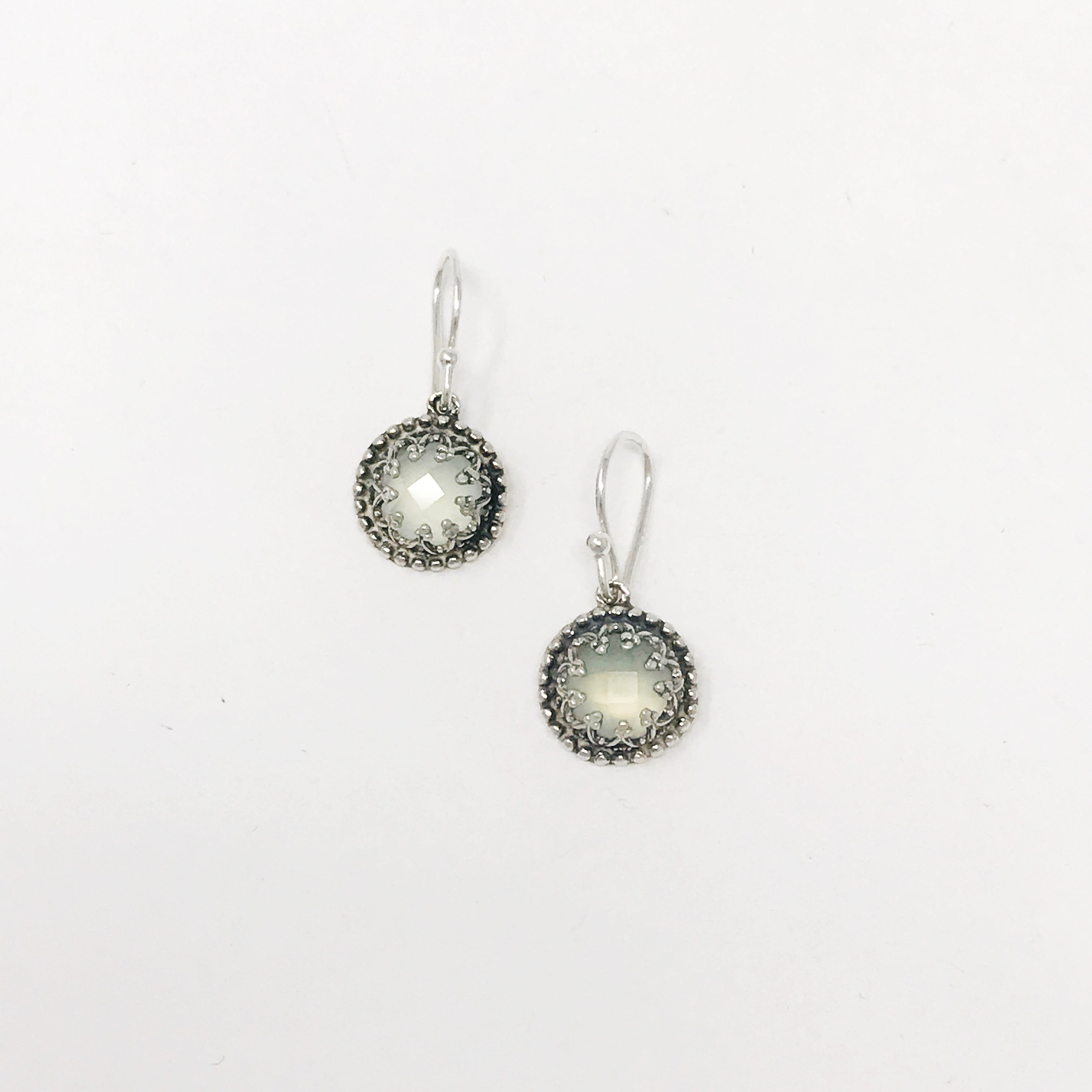 Silver and Aqua Chalcedony Filigree Earring
