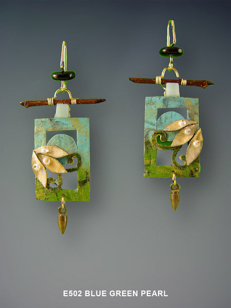 Mixed Media Rectangle Blue Green Pearl Earrings