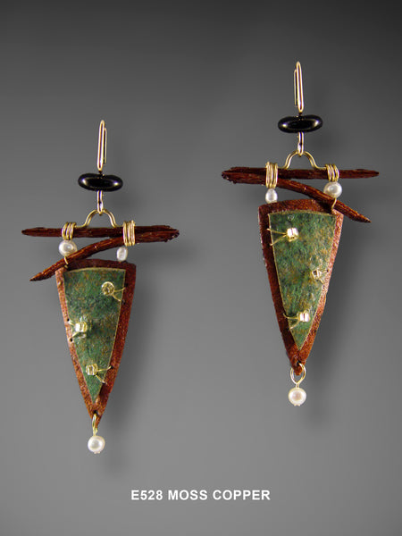 Mixed Media Triangle Earrings in Moss Copper