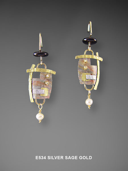 Mixed Media Abstract Earrings in Silver