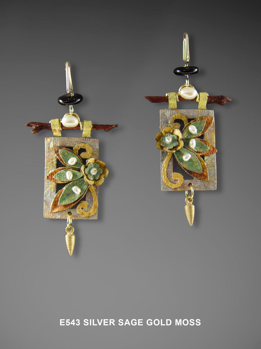 Silver Sage and Gold Moss Earrings