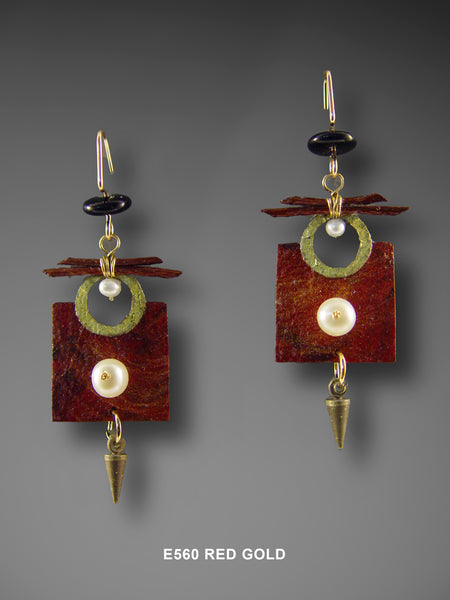 Mixed Media Square Earrings in Red and Gold