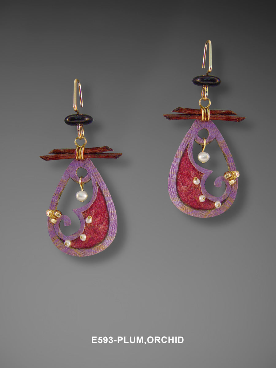 Plum and Orchid Earring
