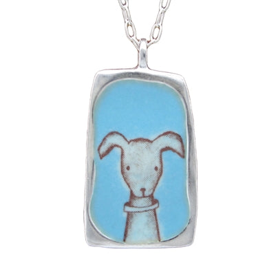 Reversible Sterling Silver and Enamel Cat/Dog Necklace