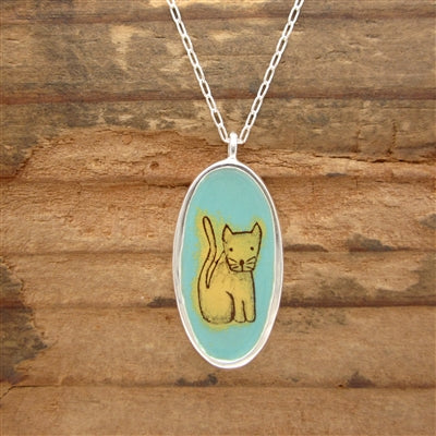 Reversible Sterling Silver and Enamel Cat/Cat Person Necklace