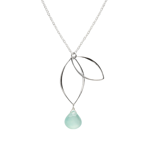 Ella Petal Necklace with Aqua Chalcedony