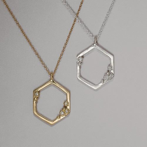 Encrusted Hexagon Necklace