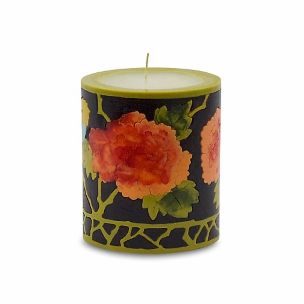 Peony and Bird Candle