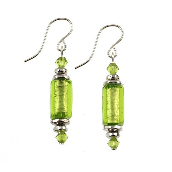 "Venetian Glass ""Skinny Rectangle Brazilian Beach Party"" Earrings"