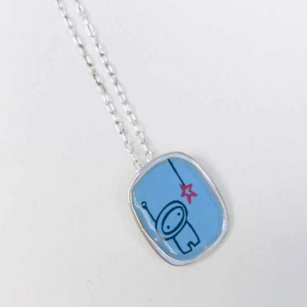 Sterling Silver and Enamel Astronaut Necklace
