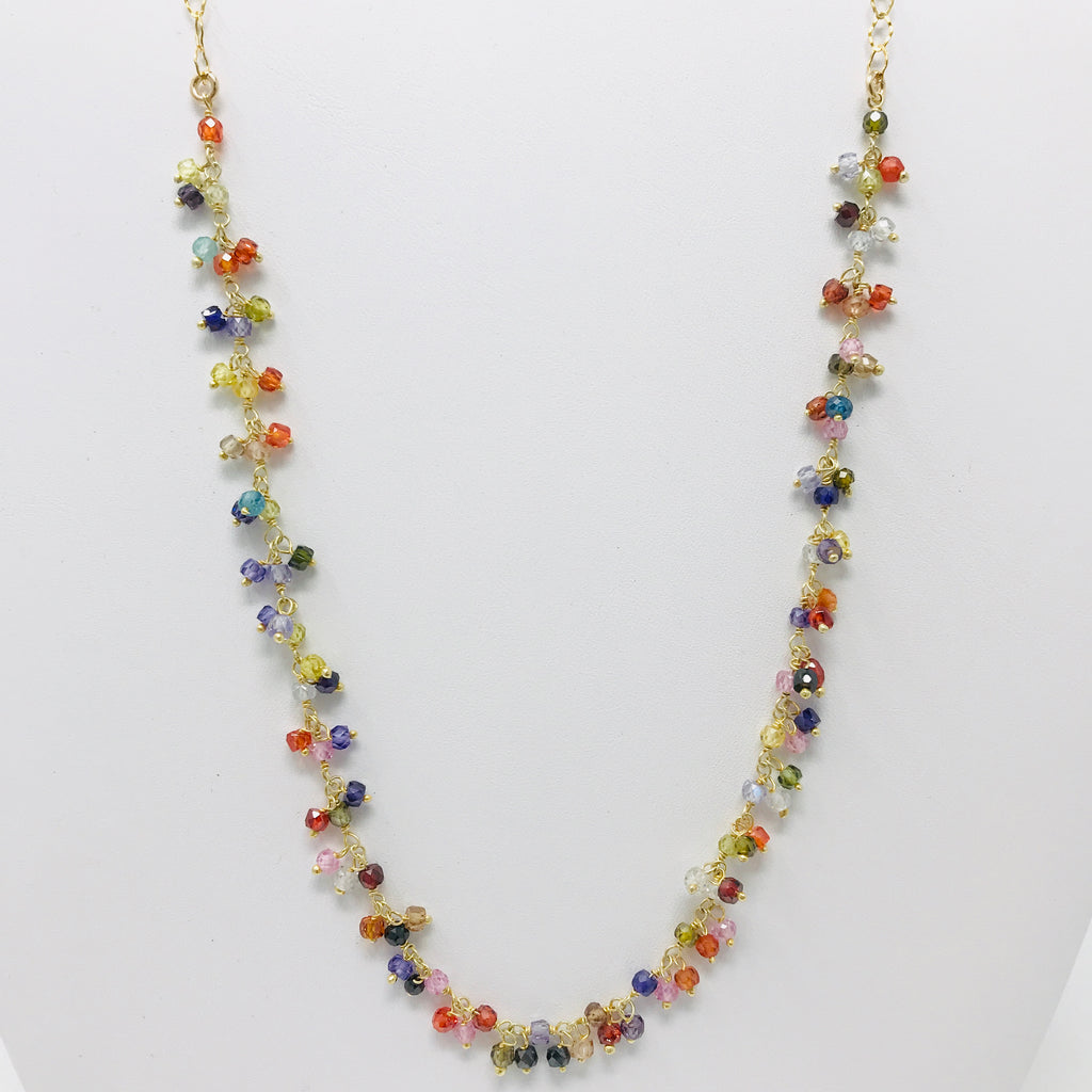 Multi-color Gem Clusters Necklace
