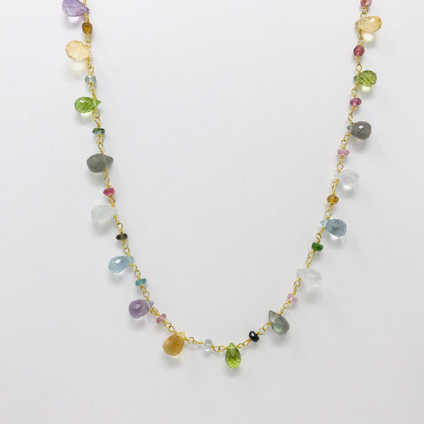 Multi-color Gem Drops Necklace