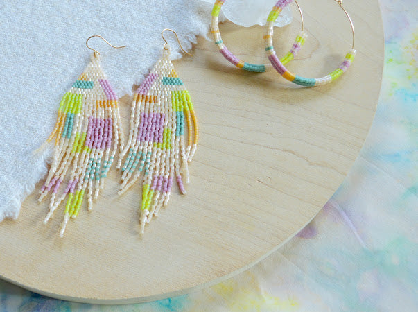 Beaded Fringe Earrings In Cream and Colors