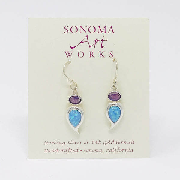 Opal & Amethyst Teardrop Earrings