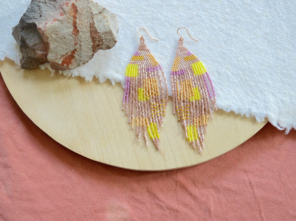 Beaded Fringe Earrings in Purple and Yellow