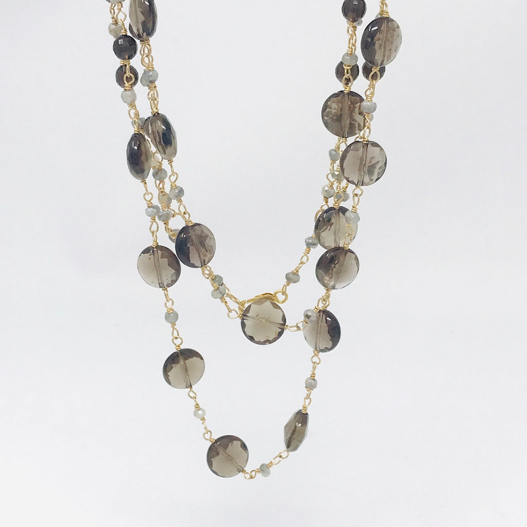 Smokey Quartz and Silverite Necklace
