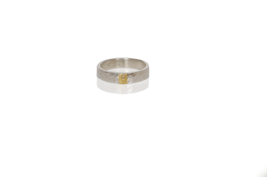 4mm Rivet Band in Hammered Sterling Silver and Yellow Gold with Champagne Diamond Accent