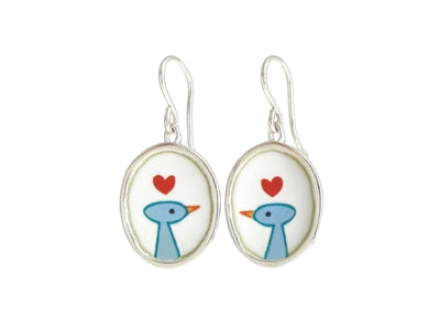 Love Birds Sterling Silver and Enamel Earrings