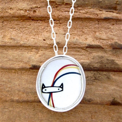 Sterling Silver and Enamel Rainbow Cat Necklace