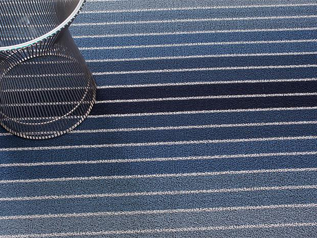 Block Stripe Denim Shag Mat