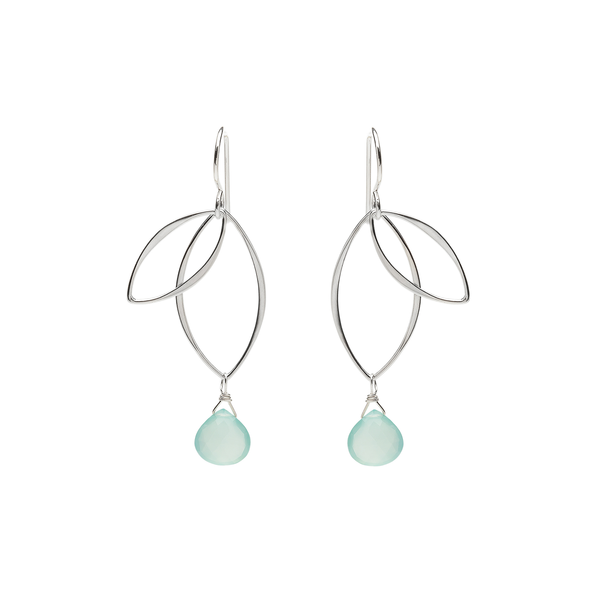 Ella Petal Earrings with Aqua Chalcedony
