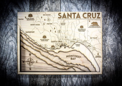 Santa Cruz 3D Wood Map