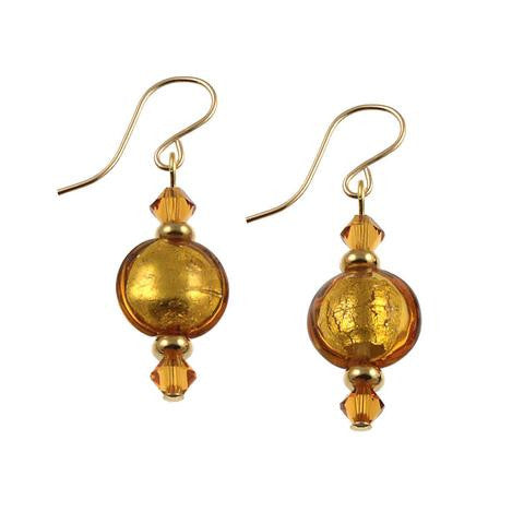 Venetian Glass Earrings Autumn Colors
