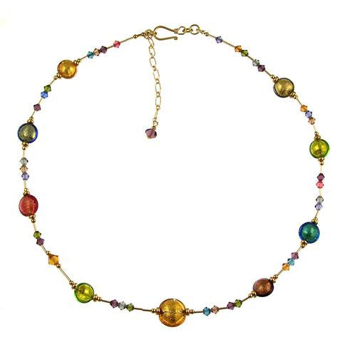 Venetian Glass Necklace Autumn Colors