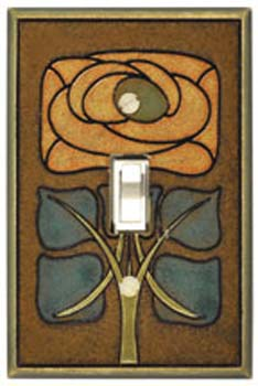 Art Nouveau Flower Ceramic Light Switch Plates