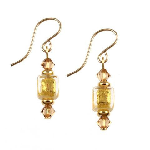 "Venetian Glass ""Baby Cubes"" Earrings Gold"