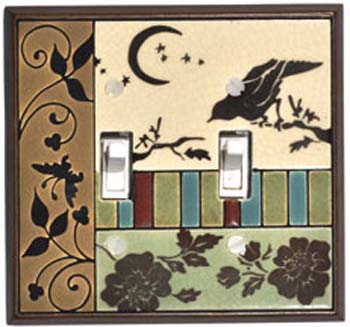 Bird Tapestry Ceramic Light Switch Plates