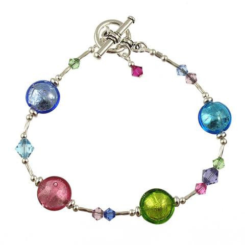 Venetian Glass Bracelet Spring Colors